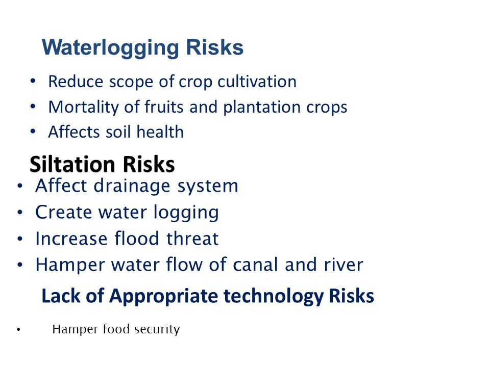Affect Fertility Decrease cultivable land area Migration of agricultural labor Erosion Risks Lack of Irrigation Water Risks Hamper irrigation Reduce crop production and yield Decrease cultivable land area