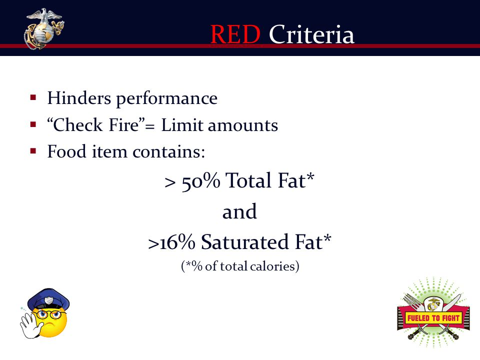 " Hinders performance  ""Check Fire""= Limit amounts  Food item contains: > 50% Total Fat* and >16% Saturated Fat* (*% of total calories) RED Criteria"