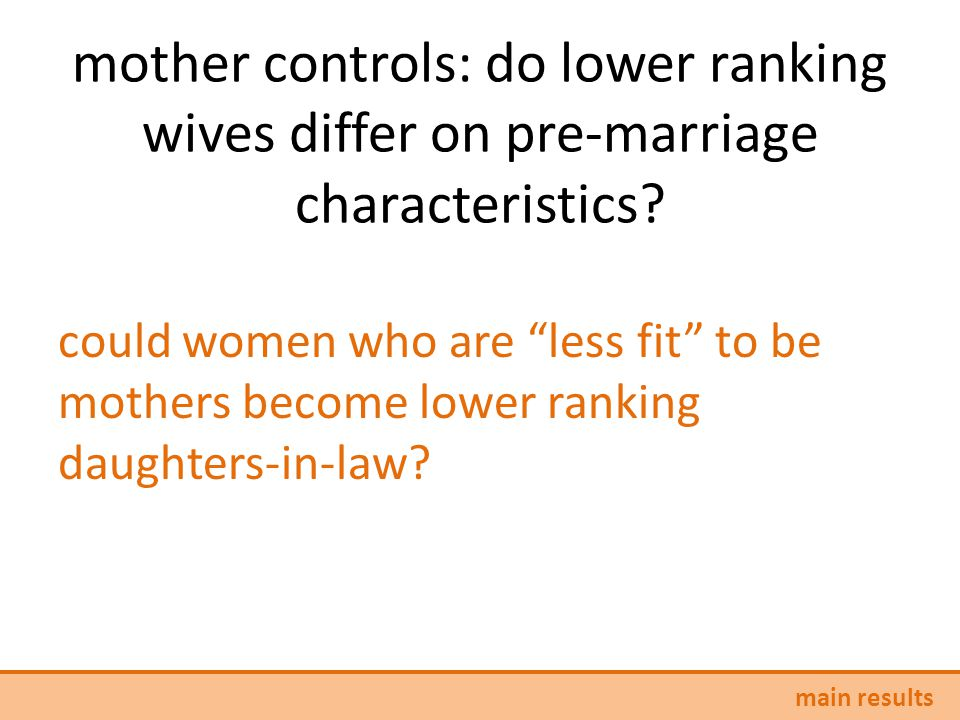 mother controls: do lower ranking wives differ on pre-marriage characteristics.
