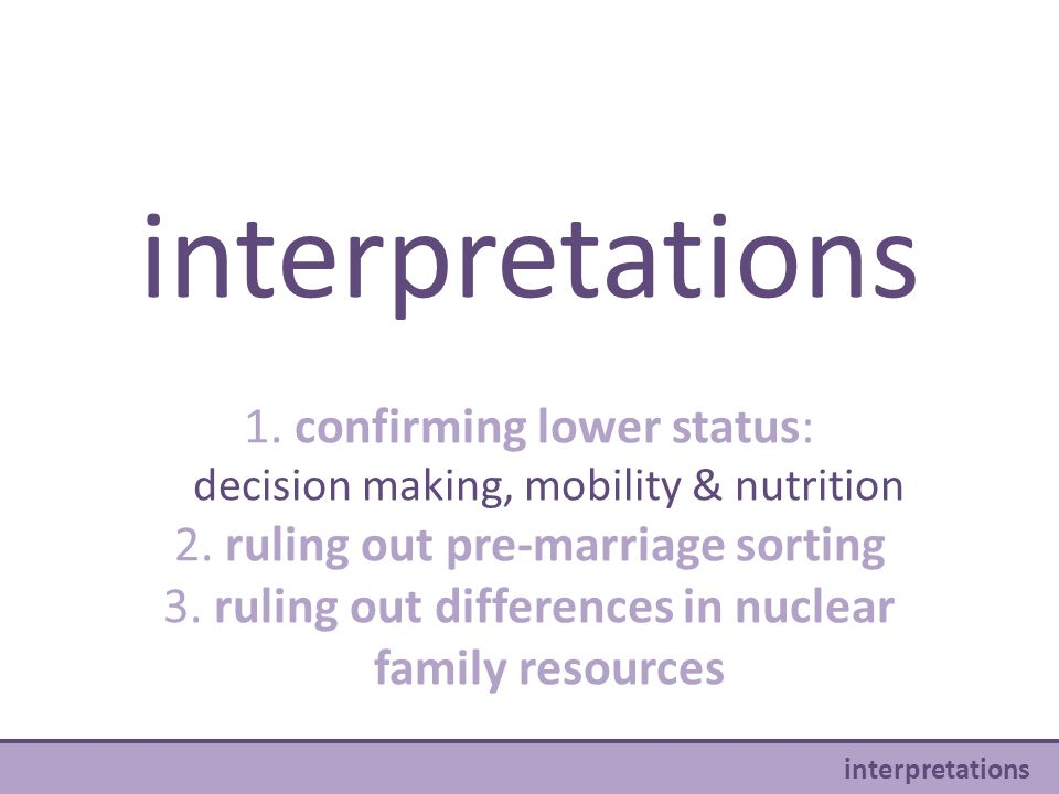 interpretations 1. confirming lower status: decision making, mobility & nutrition 2. ruling out pre-marriage sorting 3. ruling out differences in nucl