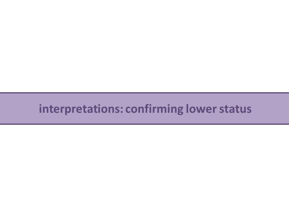 interpretations: confirming lower status