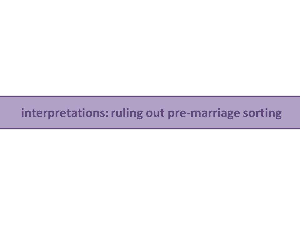 interpretations: ruling out pre-marriage sorting