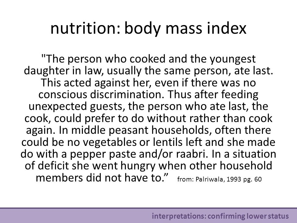 nutrition: body mass index