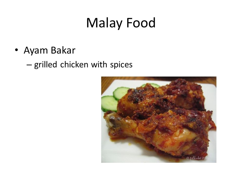 Malay Food Ayam Bakar – grilled chicken with spices