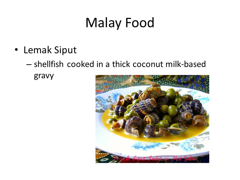 Malay Food Lemak Siput – shellfish cooked in a thick coconut milk-based gravy