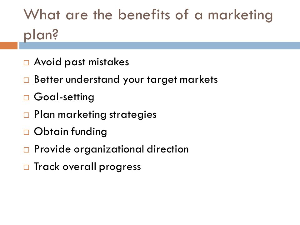 Components of a marketing plan  Executive summary (includes your mission statement) Like the back of a book jacket---investors read it to see if the rest of your plan is worth reading.
