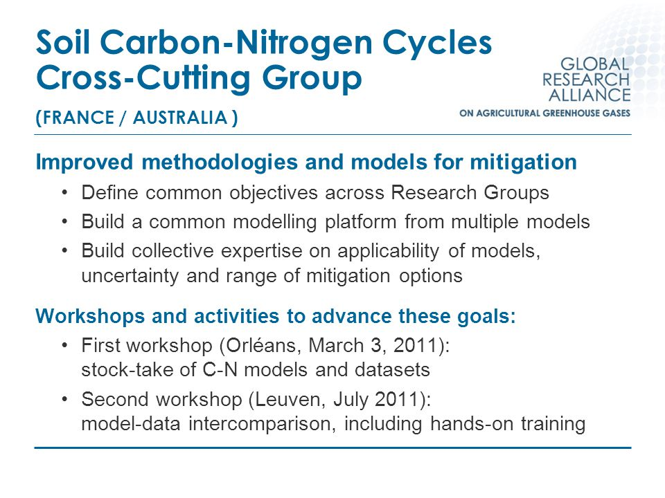 Soil Carbon-Nitrogen Cycles Cross-Cutting Group (FRANCE / AUSTRALIA ) Improved methodologies and models for mitigation Define common objectives across Research Groups Build a common modelling platform from multiple models Build collective expertise on applicability of models, uncertainty and range of mitigation options Workshops and activities to advance these goals: First workshop (Orléans, March 3, 2011): stock-take of C-N models and datasets Second workshop (Leuven, July 2011): model-data intercomparison, including hands-on training