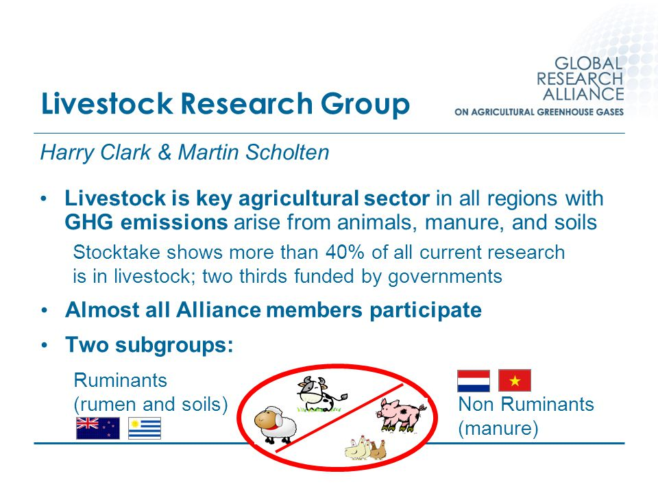 Livestock Research Group Harry Clark & Martin Scholten Livestock is key agricultural sector in all regions with GHG emissions arise from animals, manu