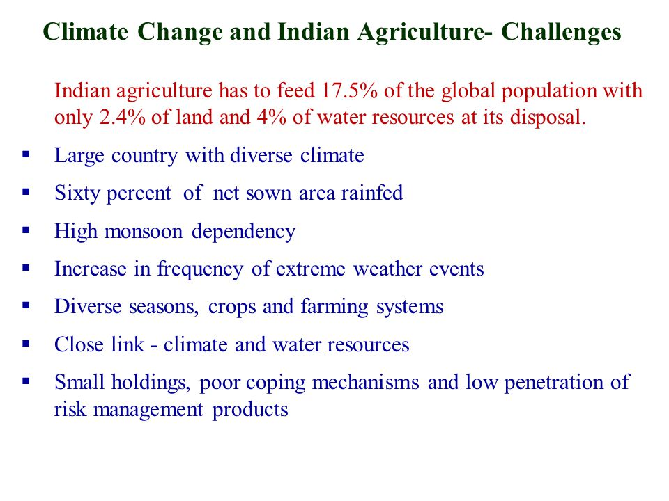 Indian agriculture has to feed 17.5% of the global population with only 2.4% of land and 4% of water resources at its disposal.