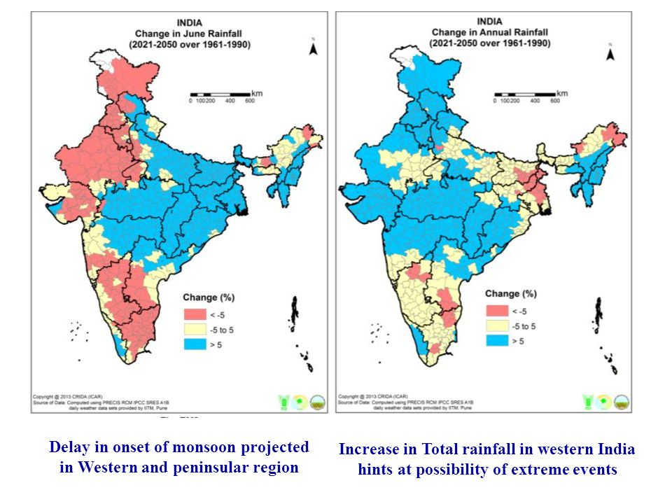 Delay in onset of monsoon projected in Western and peninsular region Increase in Total rainfall in western India hints at possibility of extreme events