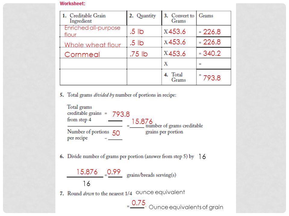 16 Enriched all-purpose flour Whole wheat flour Cornmeal.5 lb.75 lb 453.6 226.8 340.2 793.8 50 15.876 0.99 0.75 Ounce equivalents of grain ounce equivalent
