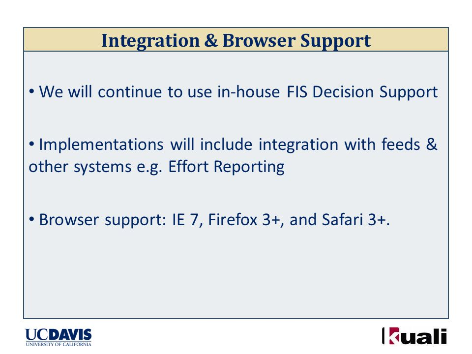 Integration & Browser Support We will continue to use in-house FIS Decision Support Implementations will include integration with feeds & other systems e.g.