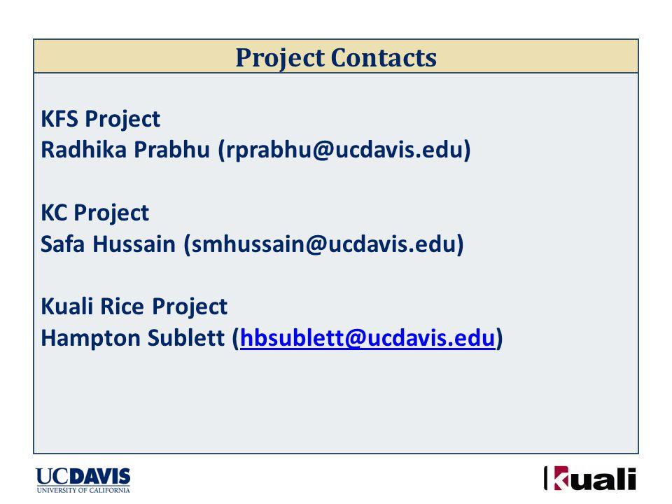 Project Contacts KFS Project Radhika Prabhu (rprabhu@ucdavis.edu) KC Project Safa Hussain (smhussain@ucdavis.edu) Kuali Rice Project Hampton Sublett (hbsublett@ucdavis.edu)hbsublett@ucdavis.edu