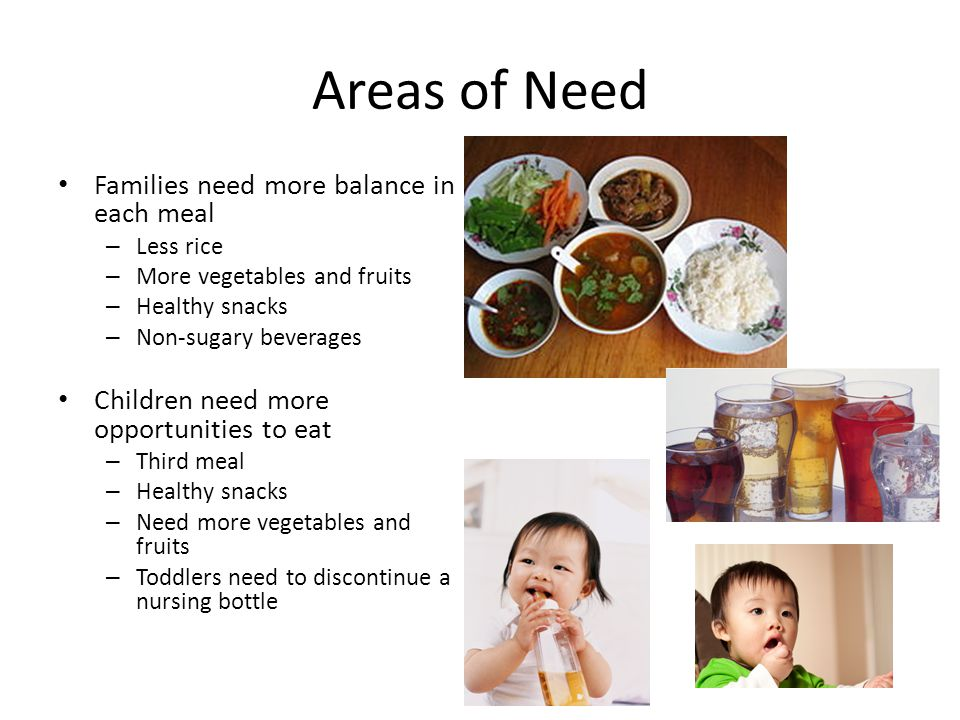 Areas of Need Prenatal women need more calories and nutrients – Third meal – Healthy snacks – More vegetables and fruits – Iron rich foods Breastfeedi