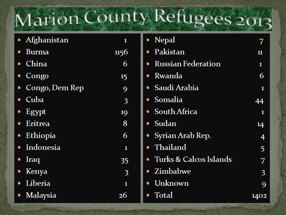 Bulgaria 3 Burma870 China 11 Cuba 12 Egypt 4 Eritrea 2 Ethiopia 18 Guinea 5 Iran 2 Iraq 38 Liberia 1 Malaysia 2 Rwanda 1 Somalia 1 Thailand 1 Unknown 10 Total 981