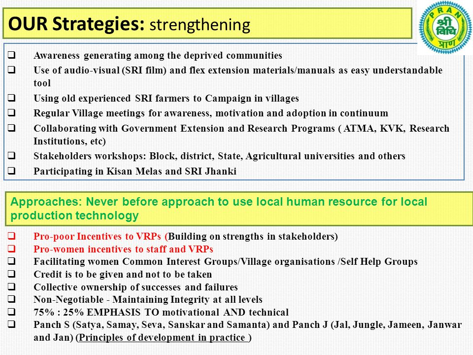 OUR Strategies: strengthening  Awareness generating among the deprived communities  Use of audio-visual (SRI film) and flex extension materials/manuals as easy understandable tool  Using old experienced SRI farmers to Campaign in villages  Regular Village meetings for awareness, motivation and adoption in continuum  Collaborating with Government Extension and Research Programs ( ATMA, KVK, Research Institutions, etc)  Stakeholders workshops: Block, district, State, Agricultural universities and others  Participating in Kisan Melas and SRI Jhanki  Pro-poor Incentives to VRPs (Building on strengths in stakeholders)  Pro-women incentives to staff and VRPs  Facilitating women Common Interest Groups/Village organisations /Self Help Groups  Credit is to be given and not to be taken  Collective ownership of successes and failures  Non-Negotiable - Maintaining Integrity at all levels  75% : 25% EMPHASIS TO motivational AND technical  Panch S (Satya, Samay, Seva, Sanskar and Samanta) and Panch J (Jal, Jungle, Jameen, Janwar and Jan) (Principles of development in practice ) Approaches: Never before approach to use local human resource for local production technology