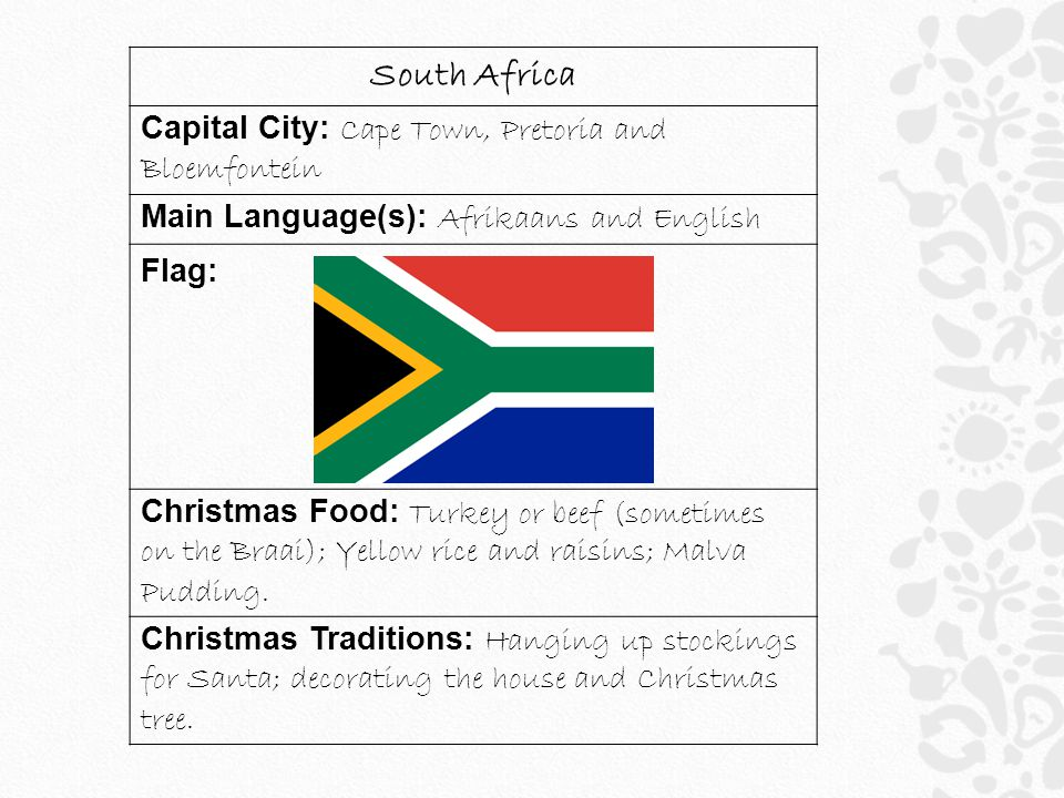 South Africa Capital City: Cape Town, Pretoria and Bloemfontein Main Language(s): Afrikaans and English Flag: Christmas Food: Turkey or beef (sometime