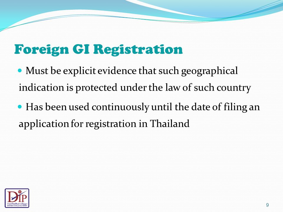 Geographical Indication Control System of Thailand Scheme Owner CA (Competent Authorities) Department of Intellectual Property (DIP) (example: INAO in France) DUTY : 1.