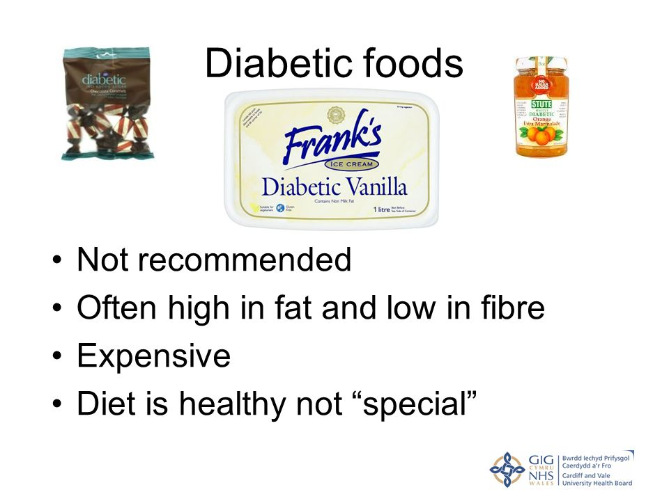 "Diabetic foods Not recommended Often high in fat and low in fibre Expensive Diet is healthy not ""special"""