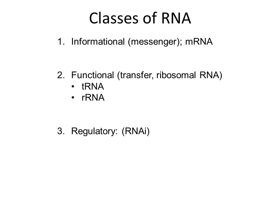 single-stranded RNA molecule that is complementary to one of the DNA strands of a gene an RNA transcript of the gene that leaves the nucleus and moves to the cytoplasm, where it is translated into protein http://www.genome.gov/glossary Informational (messenger) - mRNA