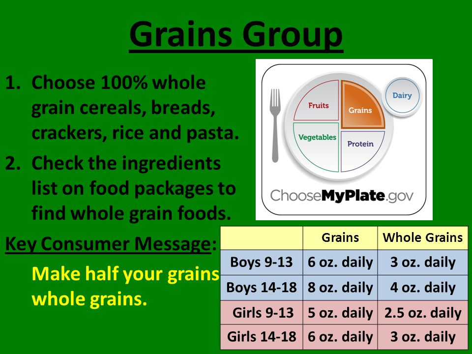 Grains Group 1.Choose 100% whole grain cereals, breads, crackers, rice and pasta.