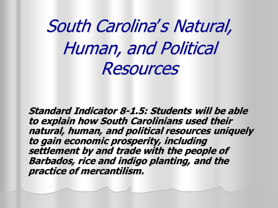 South Carolina's Natural, Human, and Political Resources Standard Indicator 8-1.5: Students will be able to explain how South Carolinians used their natural, human, and political resources uniquely to gain economic prosperity, including settlement by and trade with the people of Barbados, rice and indigo planting, and the practice of mercantilism.
