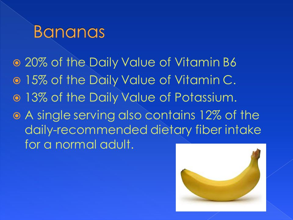  20% of the Daily Value of Vitamin B6  15% of the Daily Value of Vitamin C.