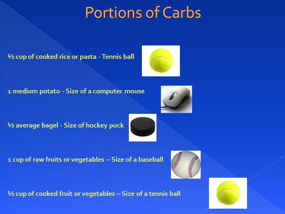 ½ cup of cooked rice or pasta - Tennis ball 1 medium potato - Size of a computer mouse ½ average bagel - Size of hockey puck 1 cup of raw fruits or vegetables – Size of a baseball ½ cup of cooked fruit or vegetables – Size of a tennis ball