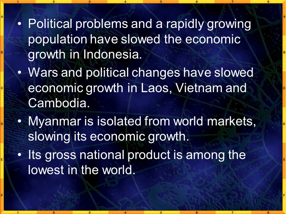 Political problems and a rapidly growing population have slowed the economic growth in Indonesia. Wars and political changes have slowed economic grow