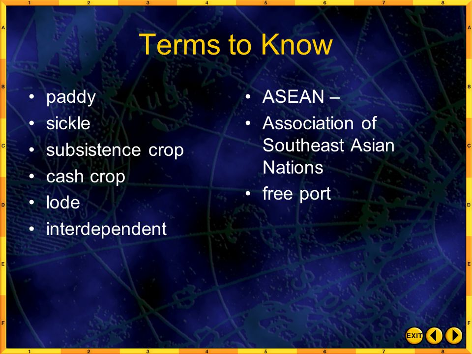 Terms to Know paddy sickle subsistence crop cash crop lode interdependent ASEAN – Association of Southeast Asian Nations free port