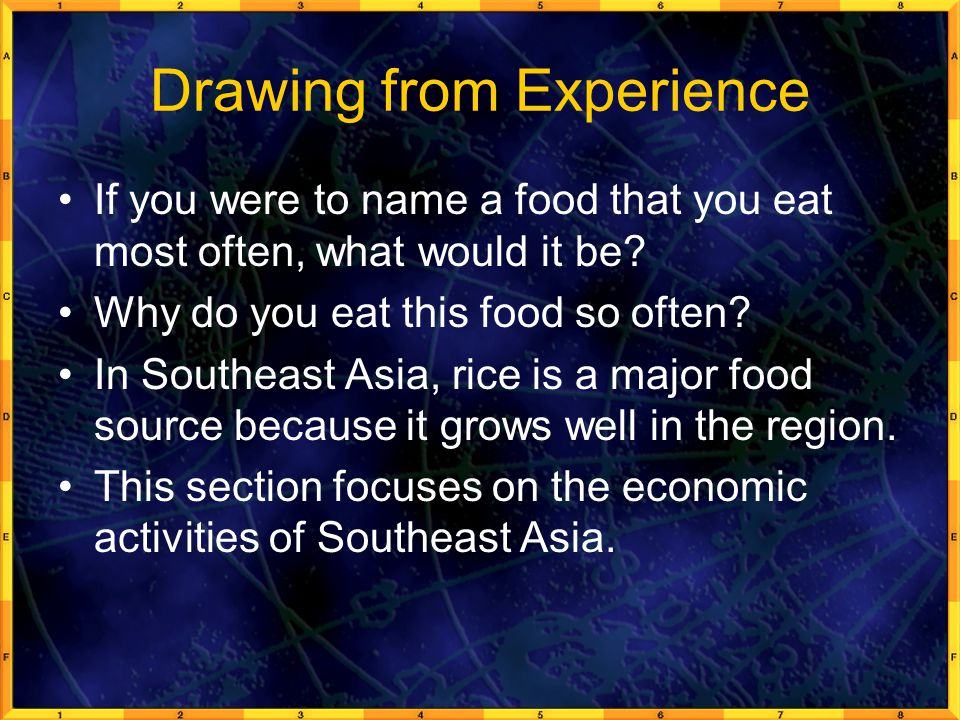Drawing from Experience If you were to name a food that you eat most often, what would it be? Why do you eat this food so often? In Southeast Asia, ri