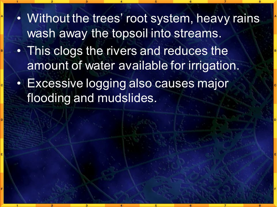 Without the trees' root system, heavy rains wash away the topsoil into streams. This clogs the rivers and reduces the amount of water available for ir