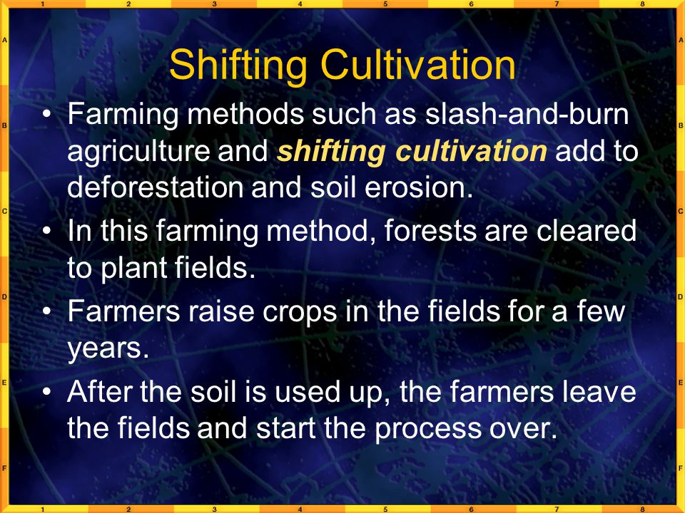 Shifting Cultivation Farming methods such as slash-and-burn agriculture and shifting cultivation add to deforestation and soil erosion. In this farmin