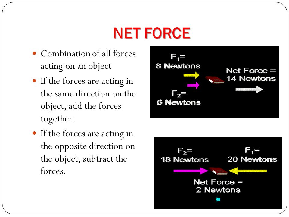 NET FORCE Combination of all forces acting on an object If the forces are acting in the same direction on the object, add the forces together.