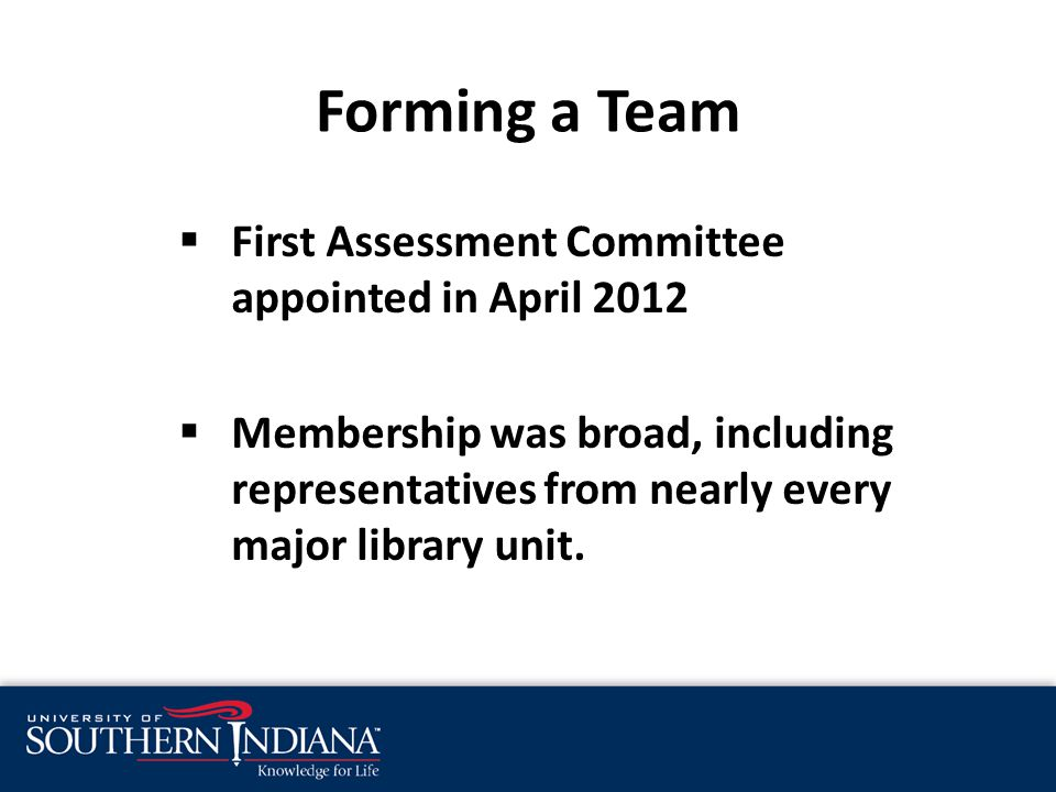  First Assessment Committee appointed in April 2012  Membership was broad, including representatives from nearly every major library unit.