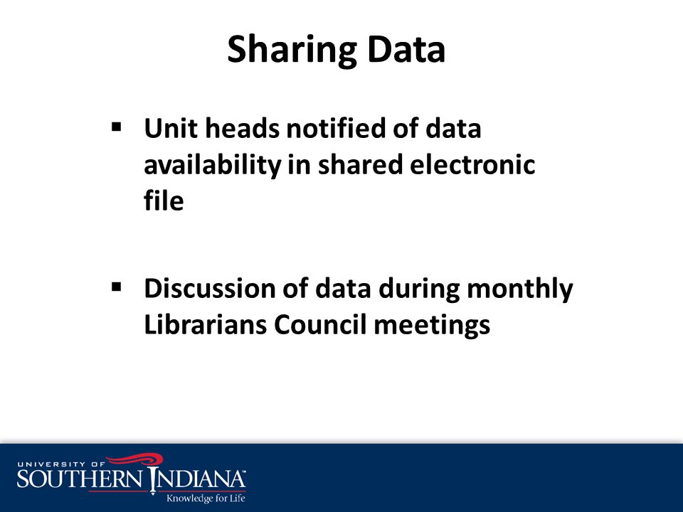  Unit heads notified of data availability in shared electronic file  Discussion of data during monthly Librarians Council meetings