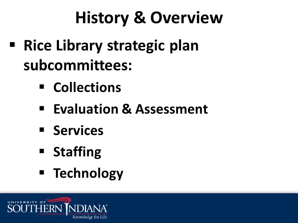 History & Overview  Rice Library strategic plan subcommittees:  Collections  Evaluation & Assessment  Services  Staffing  Technology