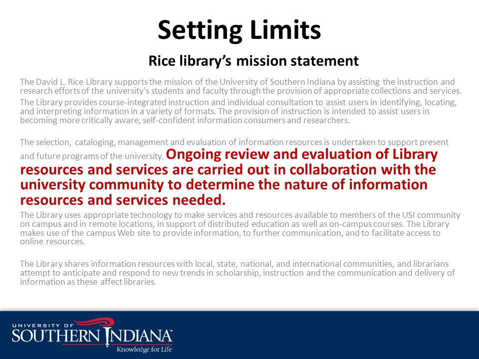 Rice library's mission statement The David L.