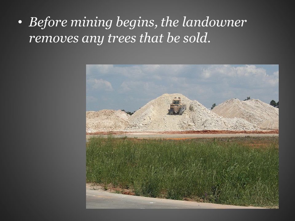 Before mining begins, the landowner removes any trees that be sold.