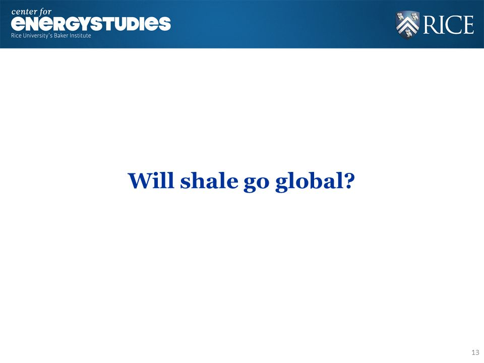 Will shale go global? 13