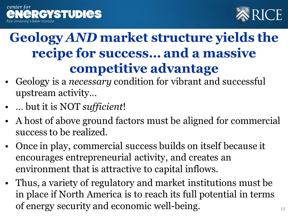 Geology AND market structure yields the recipe for success… and a massive competitive advantage Geology is a necessary condition for vibrant and successful upstream activity… … but it is NOT sufficient.