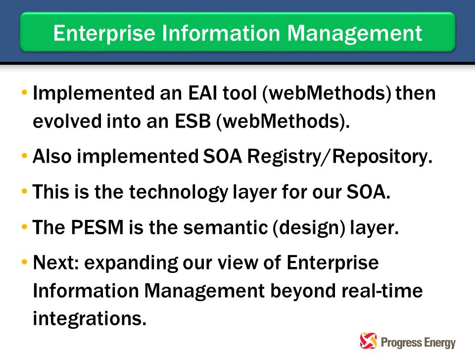 Implemented an EAI tool (webMethods) then evolved into an ESB (webMethods). Also implemented SOA Registry/Repository. This is the technology layer for