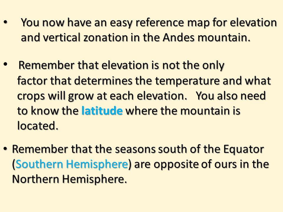 You now have an easy reference map for elevation and vertical zonation in the Andes mountain.
