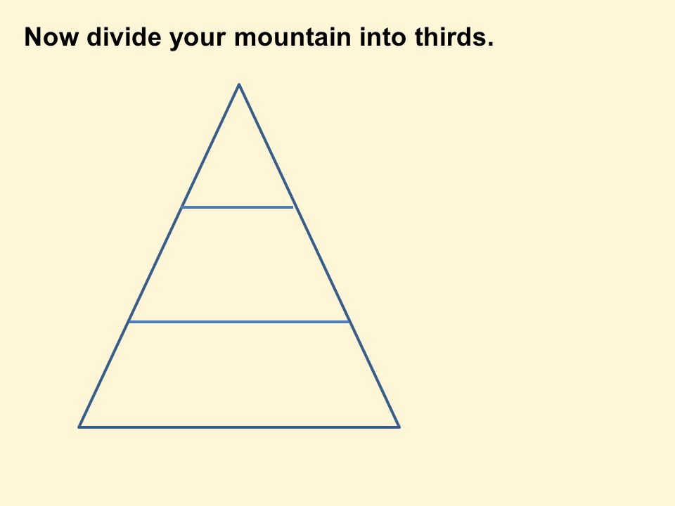 Now divide your mountain into thirds.