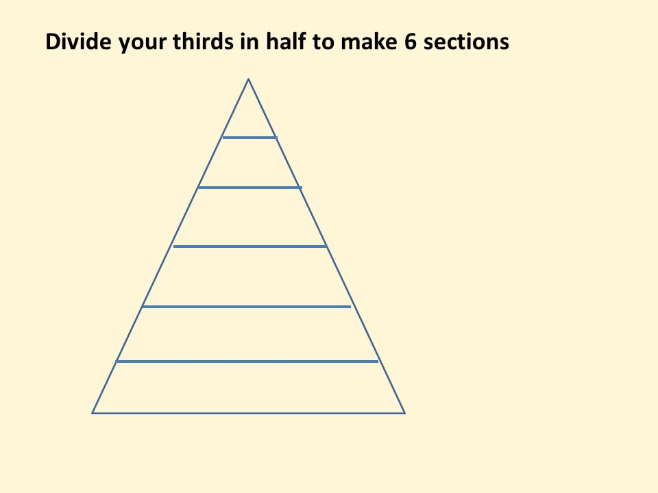 Divide your thirds in half to make 6 sections