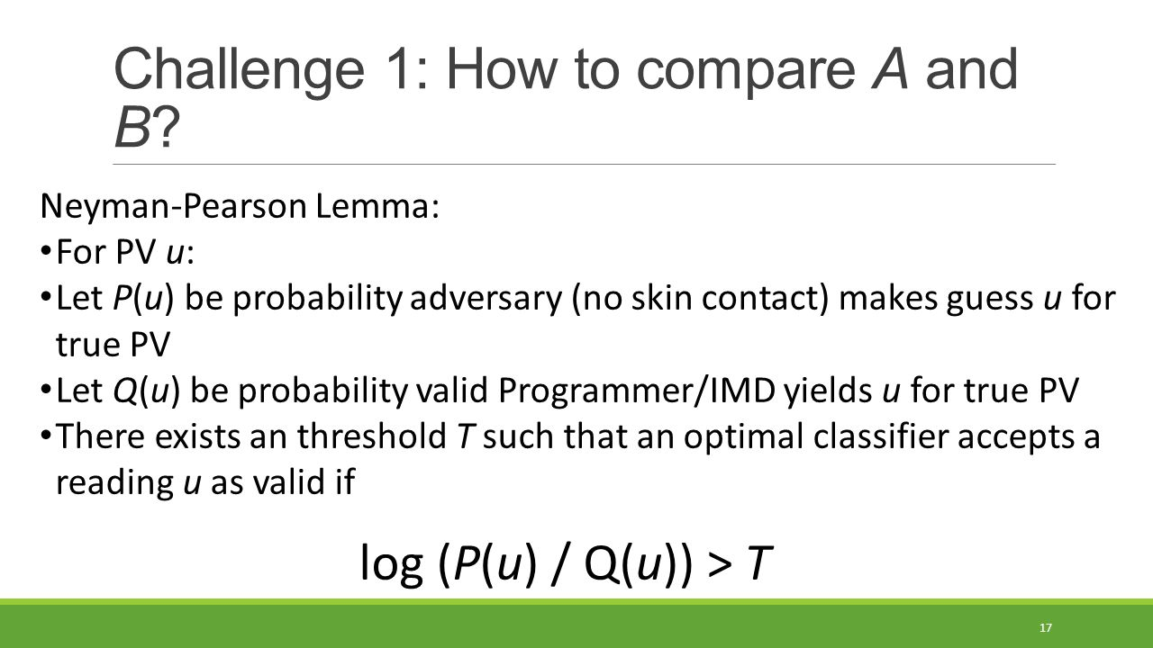 Challenge 1: How to compare A and B.