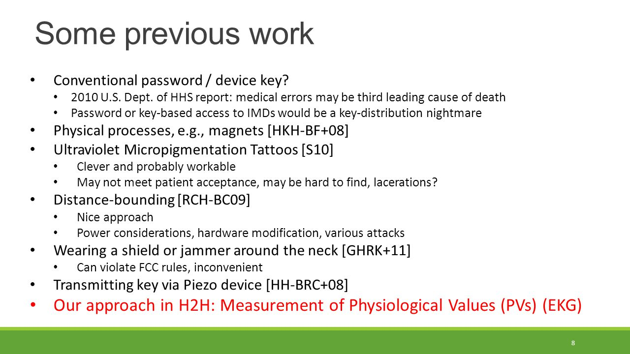 Some previous work Conventional password / device key.