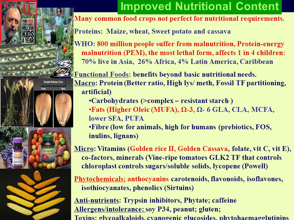 Many common food crops not perfect for nutritional requirements.