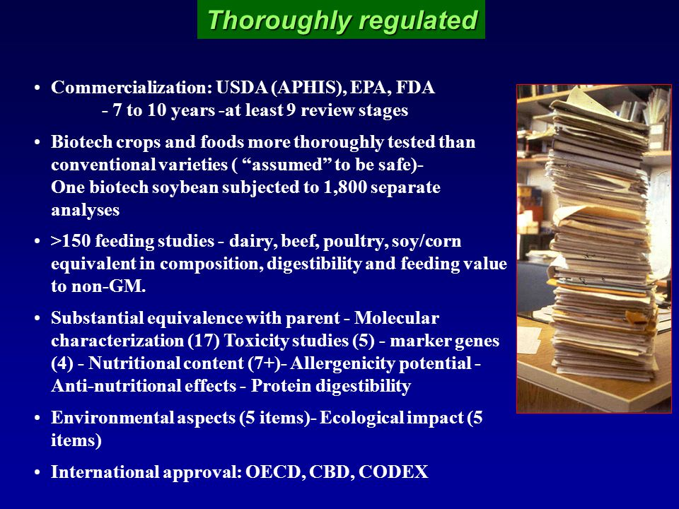 Thoroughly regulated Commercialization: USDA (APHIS), EPA, FDA - 7 to 10 years -at least 9 review stages Biotech crops and foods more thoroughly tested than conventional varieties ( assumed to be safe)- One biotech soybean subjected to 1,800 separate analyses >150 feeding studies - dairy, beef, poultry, soy/corn equivalent in composition, digestibility and feeding value to non-GM.