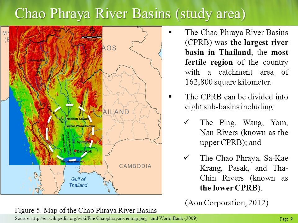 Page 9 Chao Phraya River Basins (study area)  The Chao Phraya River Basins (CPRB) was the largest river basin in Thailand, the most fertile region of the country with a catchment area of 162,800 square kilometer.